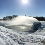 This was captured at the Main Injector pond spray header on a cold January afternoon. Photo: Arvydas Vasonis, landscape, nature, winter, snow, ice, sky, sun