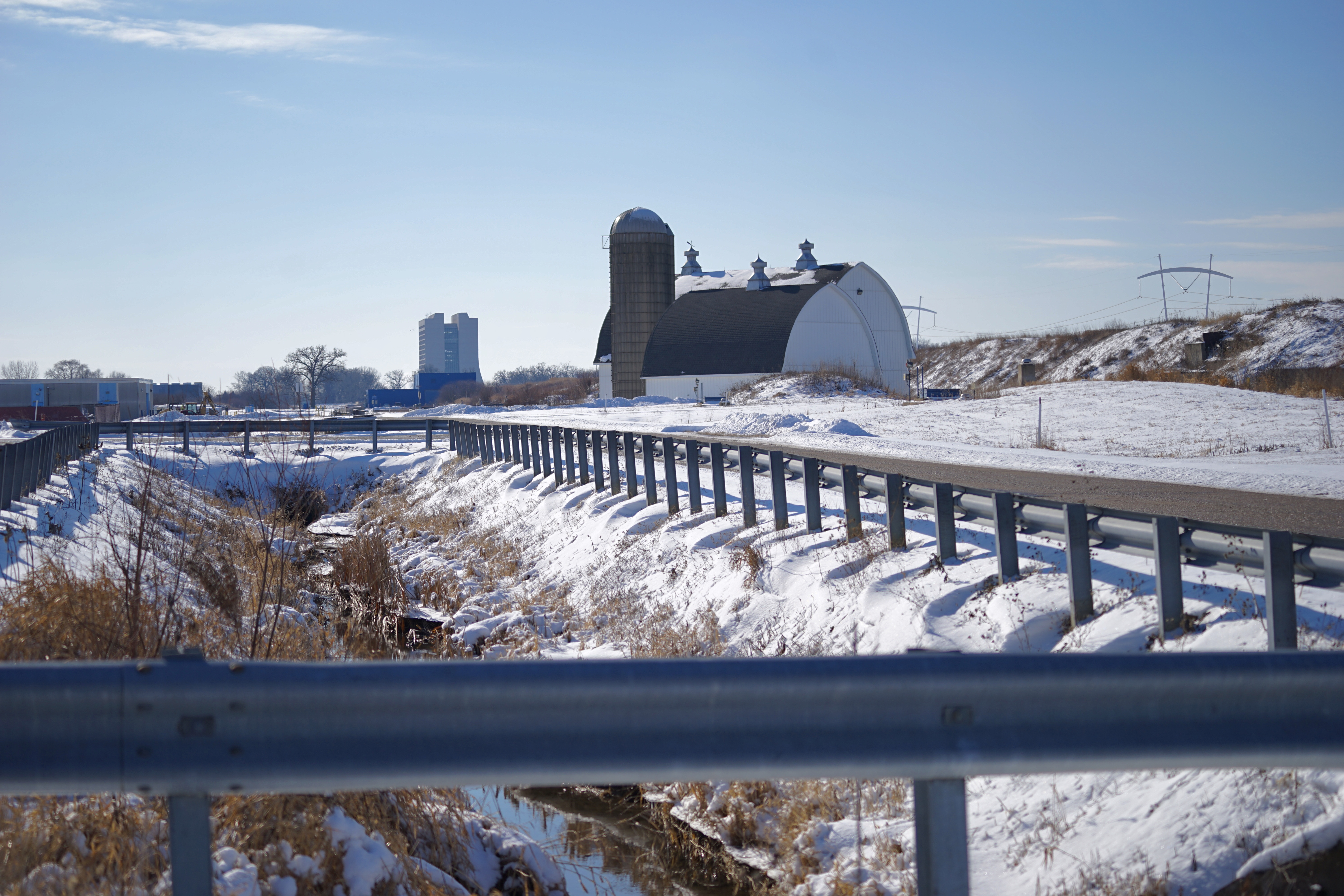 Throwback Thursday: It's a nice crisp, January day at Fermilab. landscape, nature, building, winter, snow Photo: Leticia Shaddix