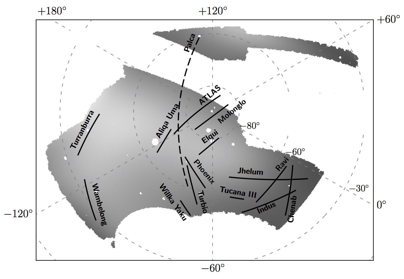 This image shows the full area of sky mapped by the Dark Energy Survey and the 11 newly discovered stellar streams. Four of the streams in this diagram — ATLAS, Molonglo, Phoenix and Tucana III – were previously known. The others were discovered using the Dark Energy Camera, one of the most powerful astronomical cameras on Earth.