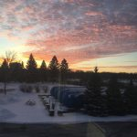 This view of a sunset, taken from an office window in Industrial Building 2, was taken on a cold January day. Photo: Dave Harding, landscape, sunset, sky, cloud, winter, snow
