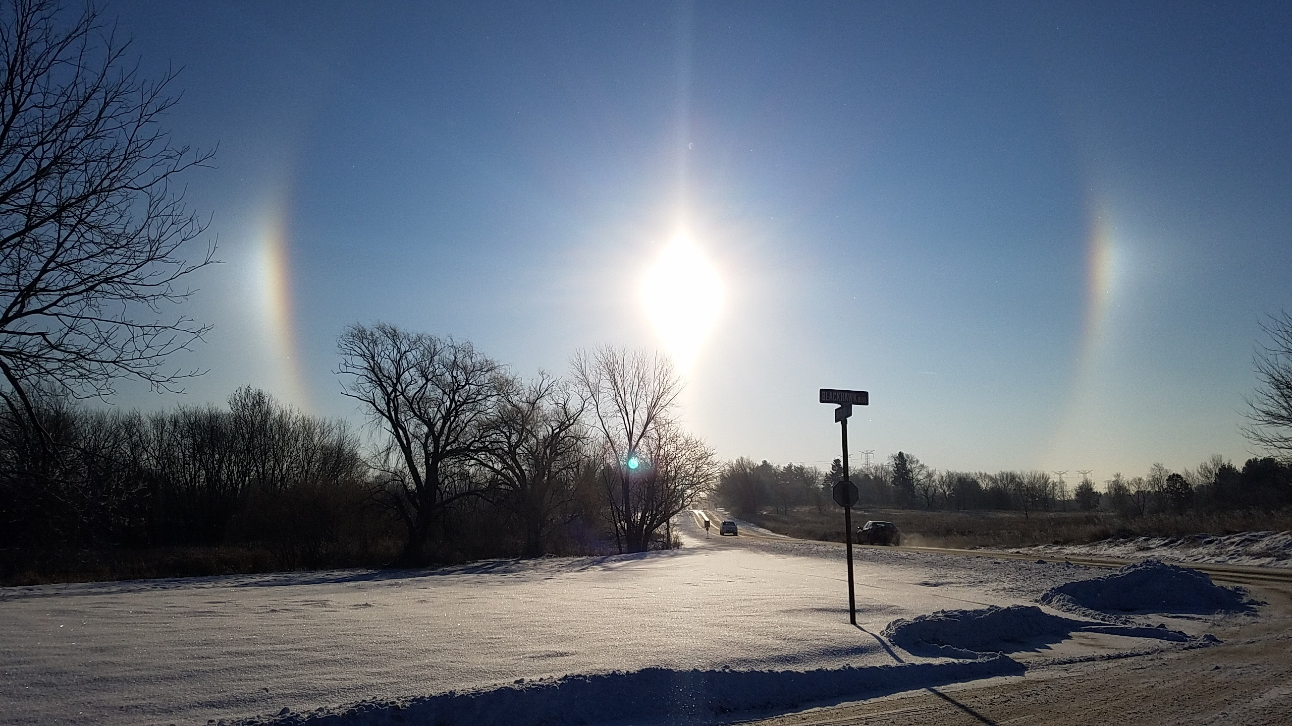 A sun dog greets employees and visitors early in the morning on Feb. 6. Photo: Russell Wiedman, nature, sky, sun, winter