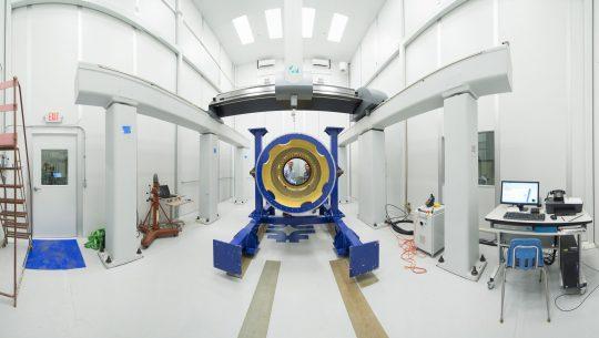 Fermilab built the lens-holding barrel of the Dark Energy Spectroscopic Instrument. Photo: Reidar Hahn