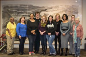 Pictured here are some of the interview team for the upcoming project to profile women at Fermilab. From left: Edith Brown, Martha Garcia, Kappy Sherman, Eileen Berman Linda Valerio, Aria Soha, Erica Snider, Lita Scott, Valerie Higgins, Eileen Hahn. Not pictured: Alyssa Miller, Cindy Kennedy, Kathy Vuletich, Lidija Kokoska, Dawn Staszak, Roza Doubnik. Photo: Leticia Shaddix