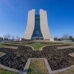 After the grasses in the front of Wilson Hall were burned, the Fermilab logo in front of the building shows up clearly. Photo: Elliott McCrory, building, Wilson Hall, landscape