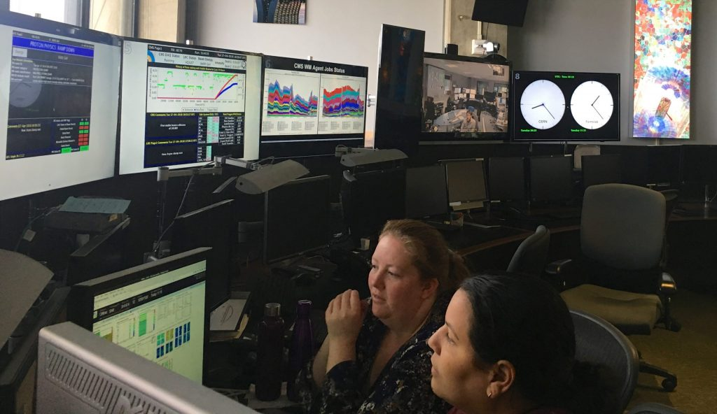Physicists at the CMS Remote Operations Center at Fermilab take shifts for certifying the data quality of the very first 2018 runs. Photo: Marguerite Tonjes