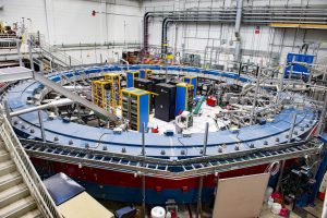Theoretical physicists at Brookhaven National Laboratory recently published in <em>Physical Review Letters</em> a calculation related to the way muons interact with all other known particles through three of nature's four fundamental forces, reducing the greatest source of uncertainty in the prediction. The result comes out just in time for precision measurements at Fermilab's Muon g-2 experiment, pictured here. Photo: Reidar Hahn