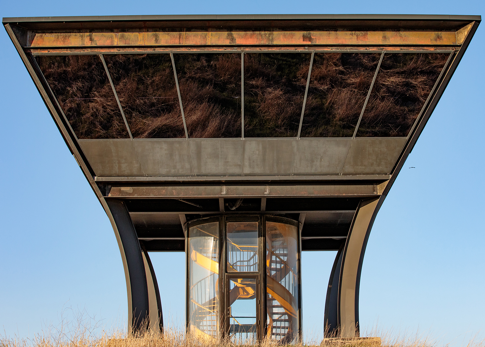 Last month, the photographer captured prairie grass reflected in the Proton Pagoda. Photo: Gene Oleynik, nature, building, prairie, plant, grass, Proton Pagoda