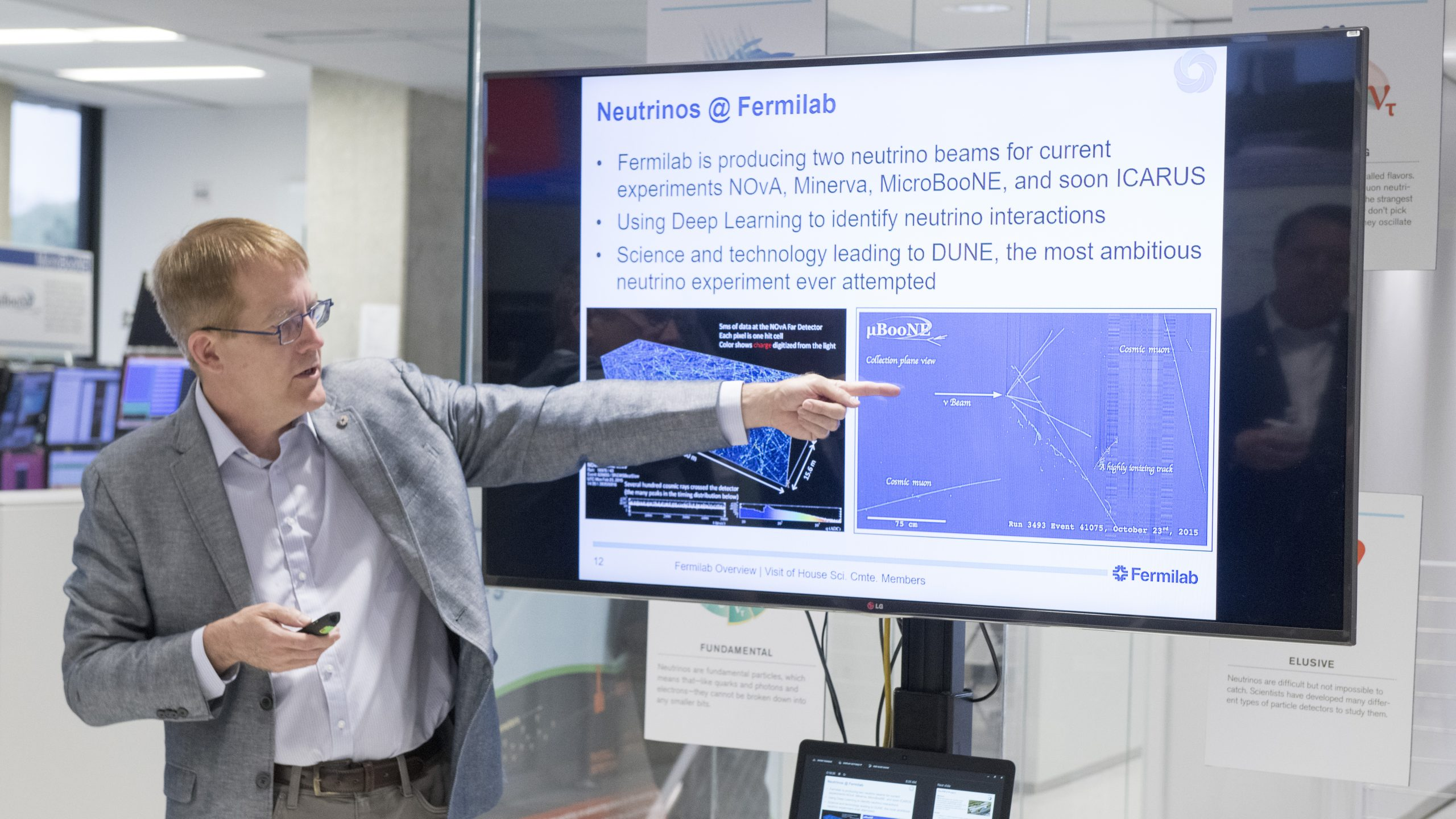 Chief Research Officer Joe Lykken provided an overview of Fermilab's research program. Photo: Reidar Hahn