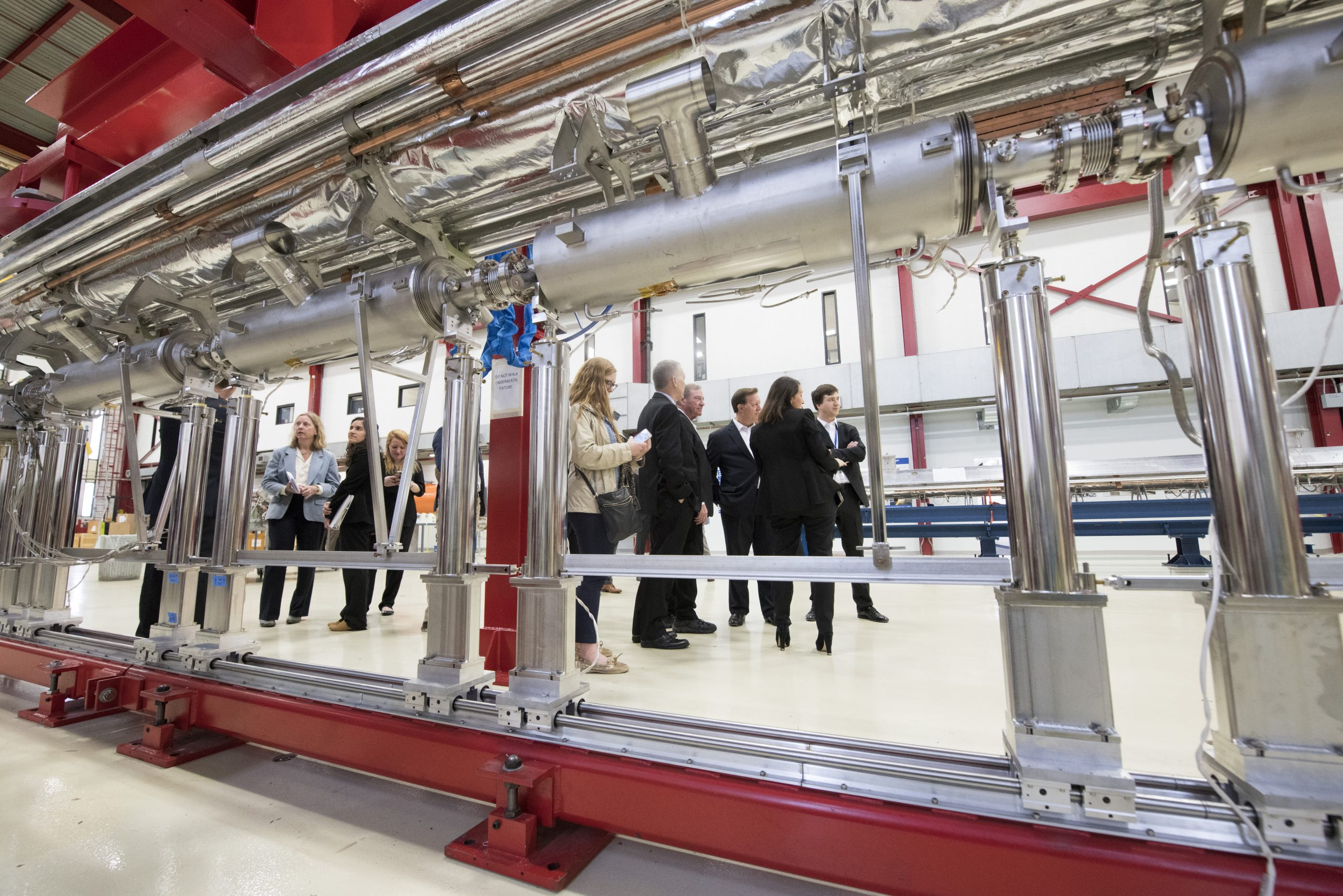 The members of the House Science Committee saw up close the particle accelerator modules that Fermilab is building for the LCLS-II X-ray laser at DOE's SLAC National Accelerator Laboratory. Photo: Reidar Hahn