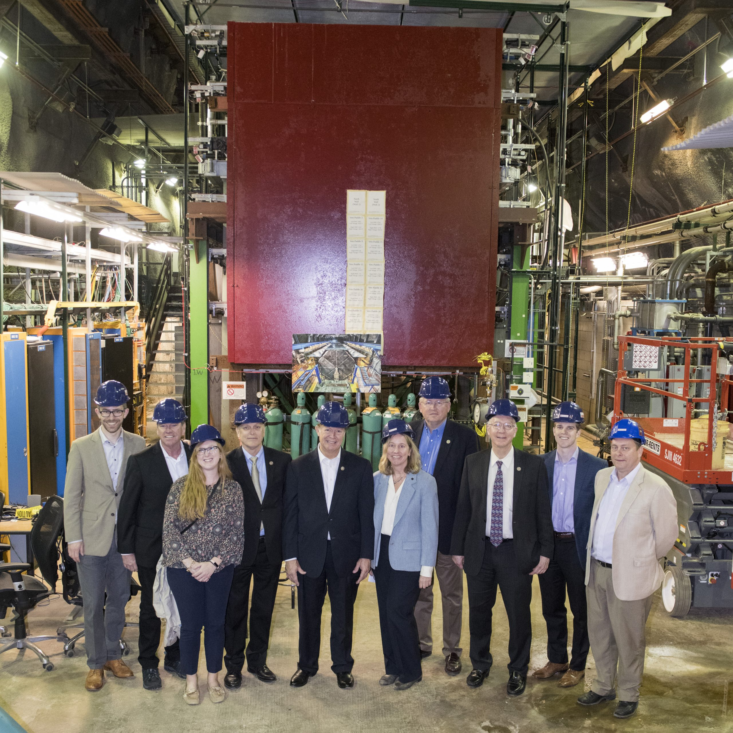 A tour of the MINERvA neutrino experiment was one of the highlights of the program for members and staff of the House Science Committee. Photo: Reidar Hahn