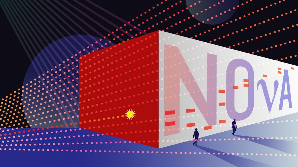 The Fermilab NOvA neutrino experiment announced that it has seen strong evidence of muon antineutrinos oscillating into electron antineutrinos, a phenomenon that has never been unambiguously observed. Image: Sandbox Studio