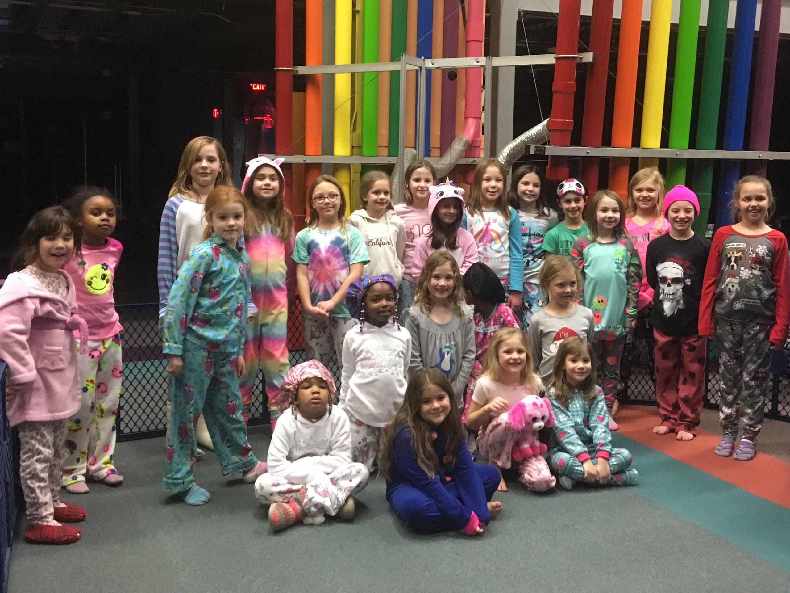 A group of children participates in a themed overnight party prepares for learning activities. Photo: SciTech Museum