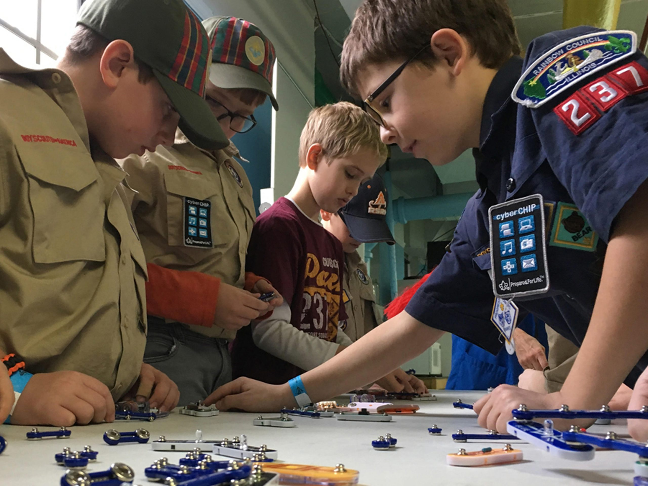 A local Boy Scout troop participates in engineering camp activities. Photo: SciTech Museum