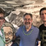Big thanks to Irwin for keeping our lab and personal identification information safe! Irwin Gaines, Charlie Kerby, Drew Schmitt and Irwin Gaines's Bitmoji take a fun-spirited selfie. Photo: Drew Schmitt, people