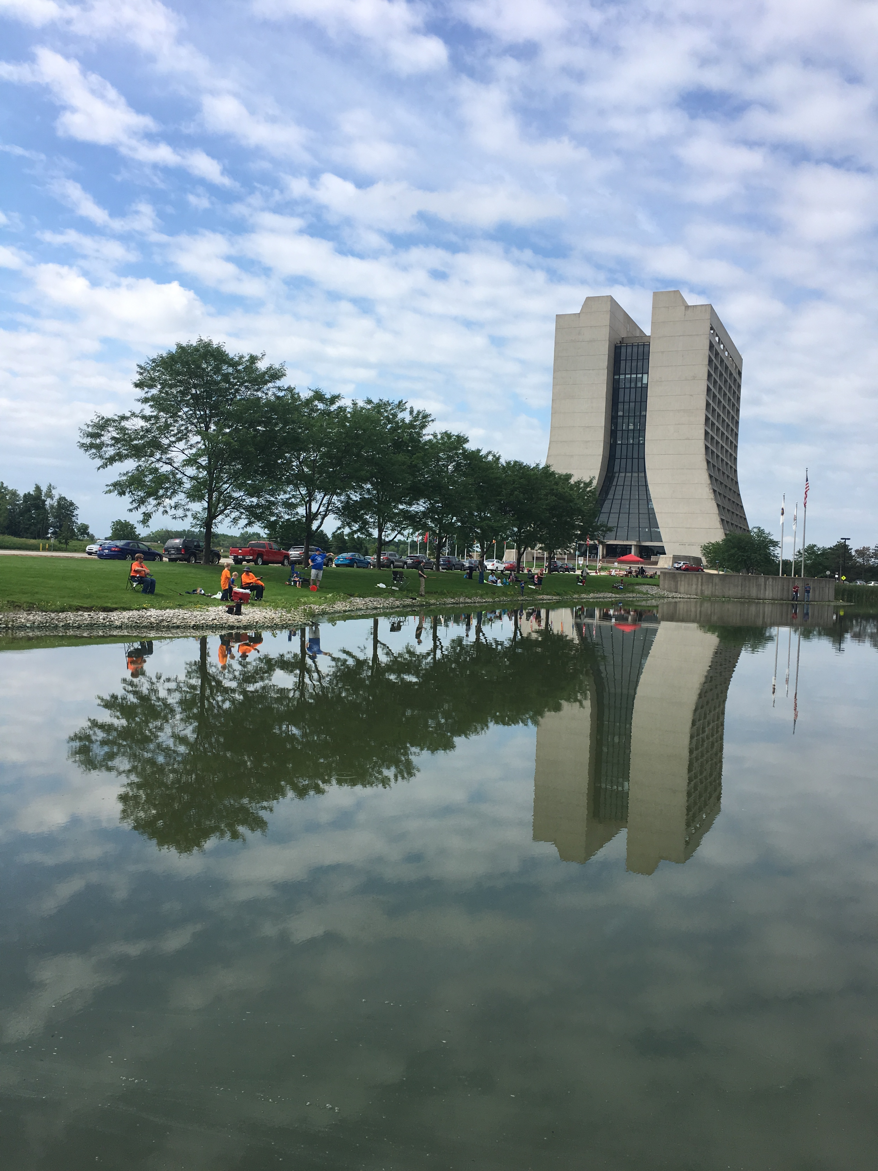 It's a reflective day at the Fermilab Fishing Derby. Photo: Jessica Jensen