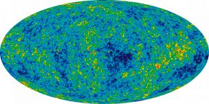 This full-sky temperature map taken by NASA'a Wilkinson Microwave Anisotropy Probe in 2012 shows the small temperature fluctuations of the cosmic microwave background. Image: NASA