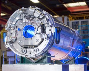 Fermilab is developing magnets such as this one, which is mounted on a test stand at Fermilab, for the High-Luminosity LHC. Photo: Reidar Hahn