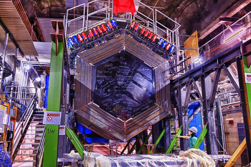 Scientists at Fermilab use the MINERvA to make measurements of neutrino interactions that can support the work of other neutrino experiments. Photo: Reidar Hahn