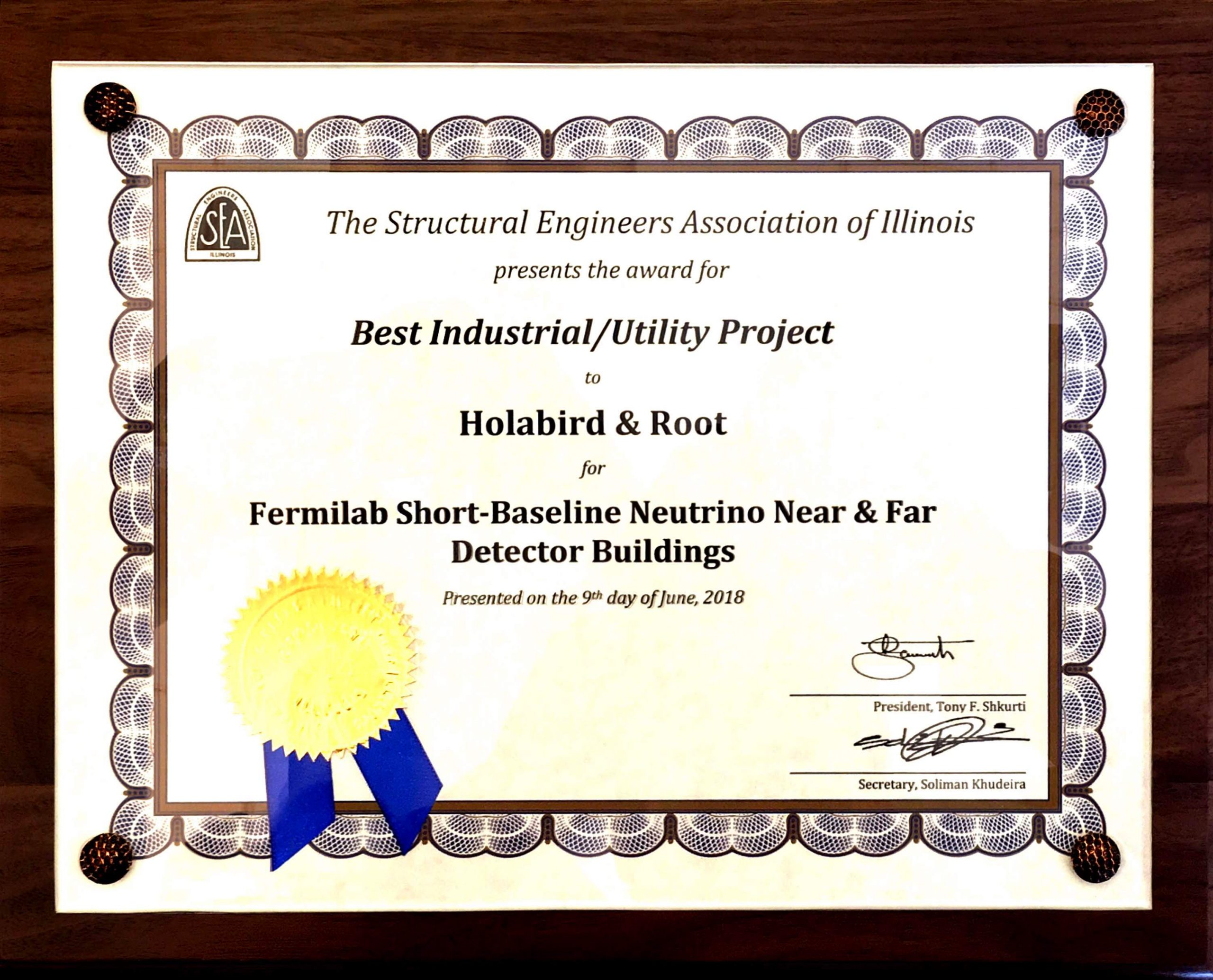 The Structural Engineers Association of Illinois gave the SBN Near and Far Detector Buildings the 2018 Excellence in Structural Engineering Awards for Best Industrial/Utility Project.