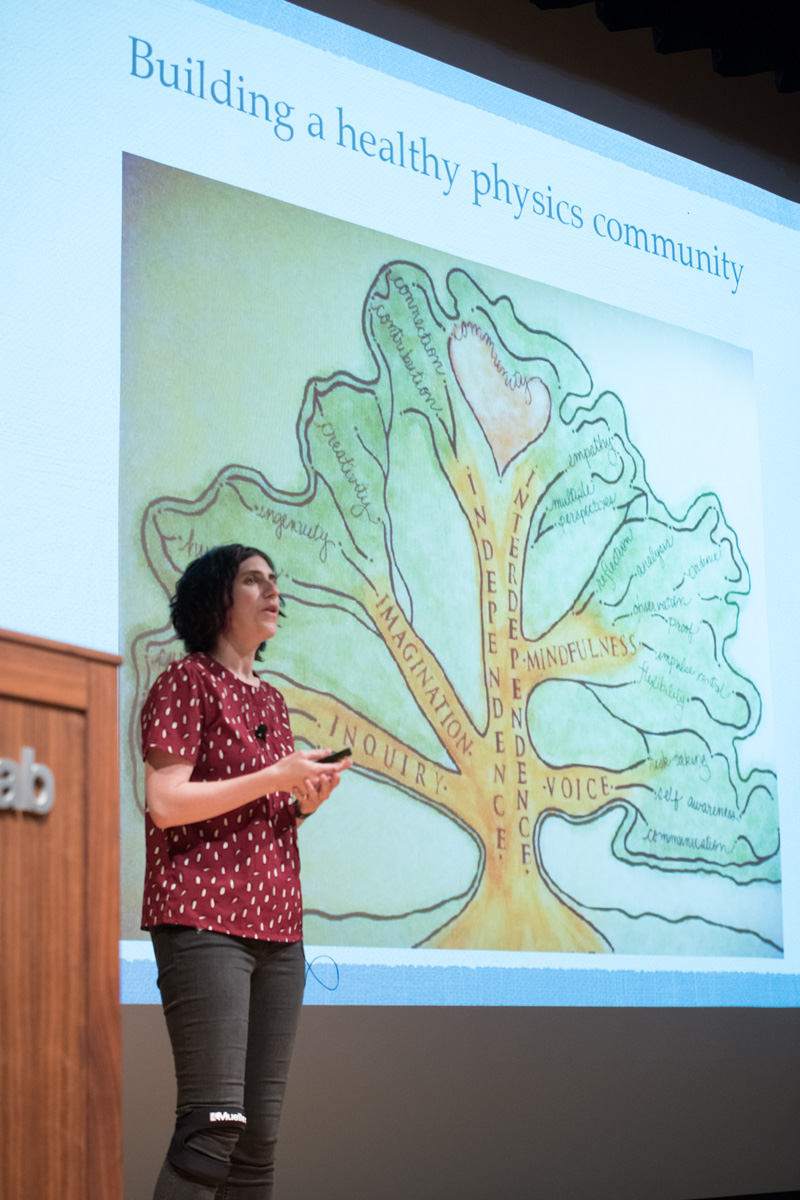 """Sarah Tuttle of the University of Washington presents her talk, """"Equity & Inclusion: Ab ovo usque ad mala (Or, Soup to Nuts: How we create inclusive communities)."""" Photo: Reidar Hahn"""