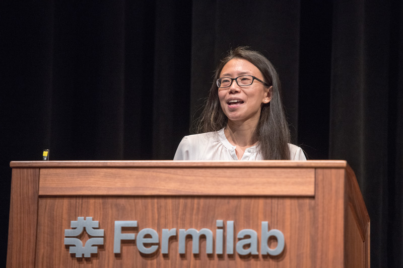 YuanYuan Zhang of Fermilab and the University of Chicago discusses the Dark Energy Survey and projections for the Large Synoptic Survey Telescope and Dark Energy Spectroscopic Instrument. Photo: Reidar Hahn