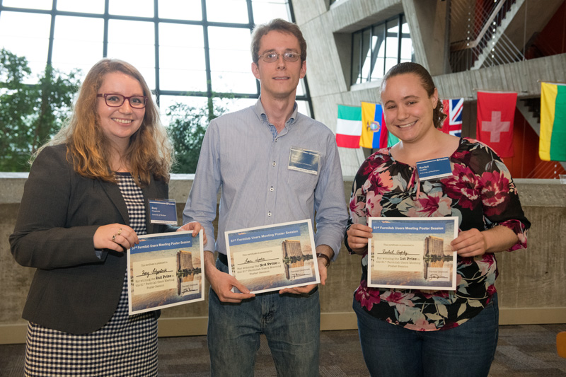 And the poster session winners are, from left, Rory Fitzpatrick of the University of Michigan (second prize), Ivan Lepetic of the Illinois Institute of Technology (third prize) and Rachel Osofsky of the University of Washington (first prize). Photo: Reidar Hahn