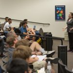 Amber Stuver of Villanova University visited Fermilab on July 5 to lecture to our summer interns on the Laser Interferometer Gravitational-Wave Observatory (LIGO) experiment. people Photo: Elliott McCrory
