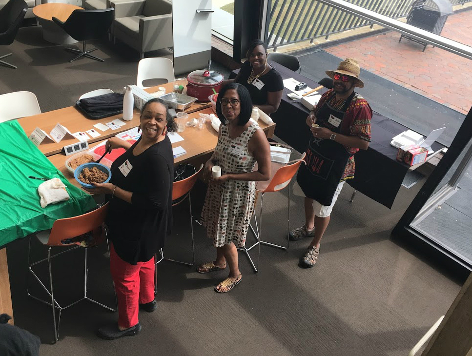Kappy Sherman, Lita Scott, John Kent and Cara Brown represented African American Culture with hot links and greens. Photo: Jessica Jensen