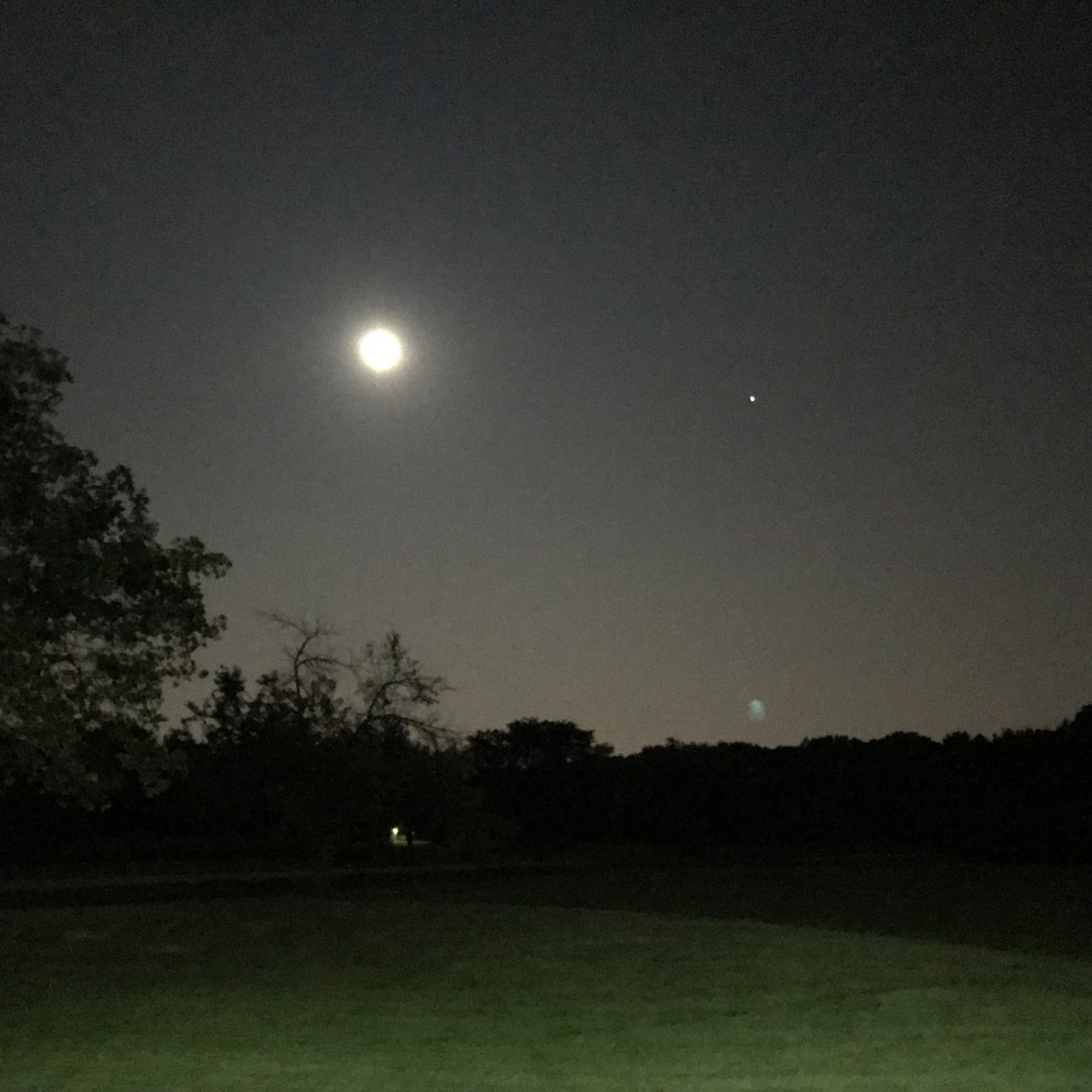 The photographer captured the moon and Mars from the Fermilab Fire Station on July 28 at 11:30 p.m. nature, sky, moon, Mars, landscape Photo: Derek Piec