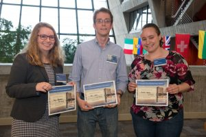 The poster session winners were, from left, Rory Fitzpatrick of the University of Michigan (second prize), Ivan Lepetic of the Illinois Institute of Technology (third prize) and Rachel Osofsky of the University of Washington (first prize). Photo: Reidar Hahn