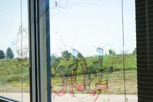 (3/3) Colorful letters adorn the SiDet windows. everyday objects Photo: Leticia Shaddix