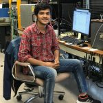 Meraj Hussain is a visitor from University of Chicago working on CMS with Artur Apresyan. Here he is building an automation program for LGAD sensors while he was an LDRD summer intern. people, CMS, detector Photo: Leticia Shaddix