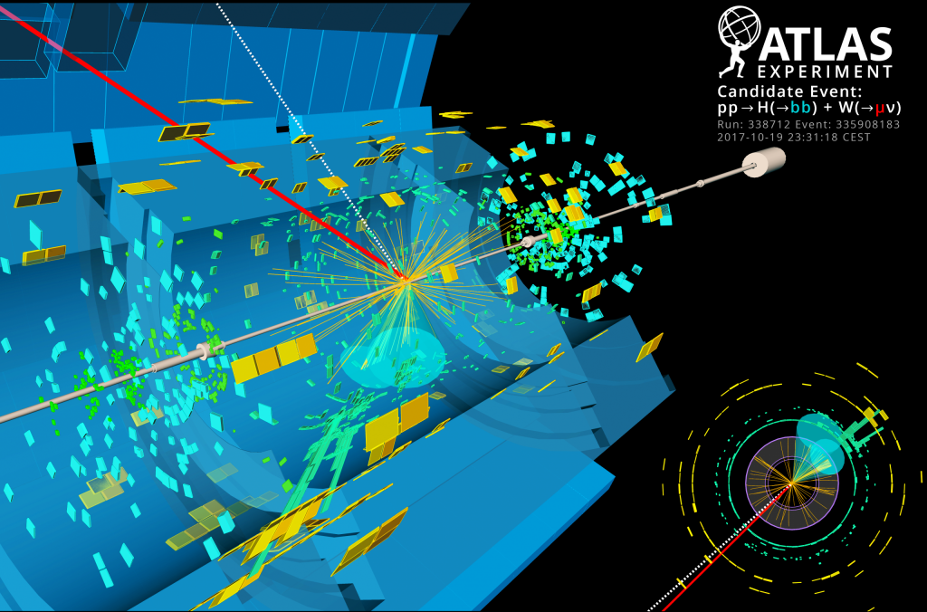 This event display from ATLAS shows a proton-proton collision inside the Large Hadron Collider that has characteristics of a Higgs decaying into two bottom quarks. While this is the most common decay of the Higgs boson, its signature is very difficult to separate from similar looking background events. Image courtesy of ATLAS