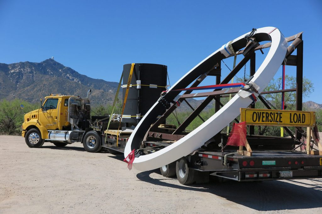 The DESI corrector barrel's cage, ring and support vanes are delivered to the Mayall Telescope at Kitt Peak in Arizona. Fermilab designed and built the corrector barrel, which holds DESI's six lenses in perfect alignment. Photo: David Sprayberry, National Optical Astronomy Observatory