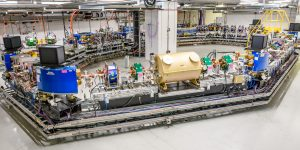 Fermilab's 40-meter-circumference IOTA — the Integrated Optics Test Accelerator — saw first beam on Aug. 21. Photo: Giulio Stancari