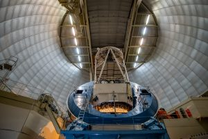 The Dark Energy Spectroscopic Instrument will attach to the Mayall Telescope at Kitt Peak National Observatory, shown here. Photo: Lawrence Berkeley National Laboratory, © 2010, The Regents of the University of California, through the Lawrence Berkeley National Laboratory.
