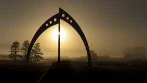 On a Tuesday morning in September, this view of Broken Symmetry greeted the photographer as he turned the corner off Kirk Road onto Pine Street. landscape, nature, sky, sun, fog, sculpture, Broken Symmetry Photo: Marty Murphy