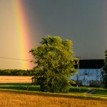 (2/2) Two rainbows bound the barn. rainbow, sky, storm, thunderstorm, building, barn, landscapePhoto: Giulio Stancari