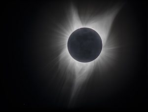 The solar corona is visible in this beautiful view of the sun. NASA's Parker Solar Probe will help scientists investigate the corona and how particles are ejected from the sun and reach Earth as solar wind. This picture was taken during the August 2017 total eclipse of the sun. Photo: Rick Tesarek