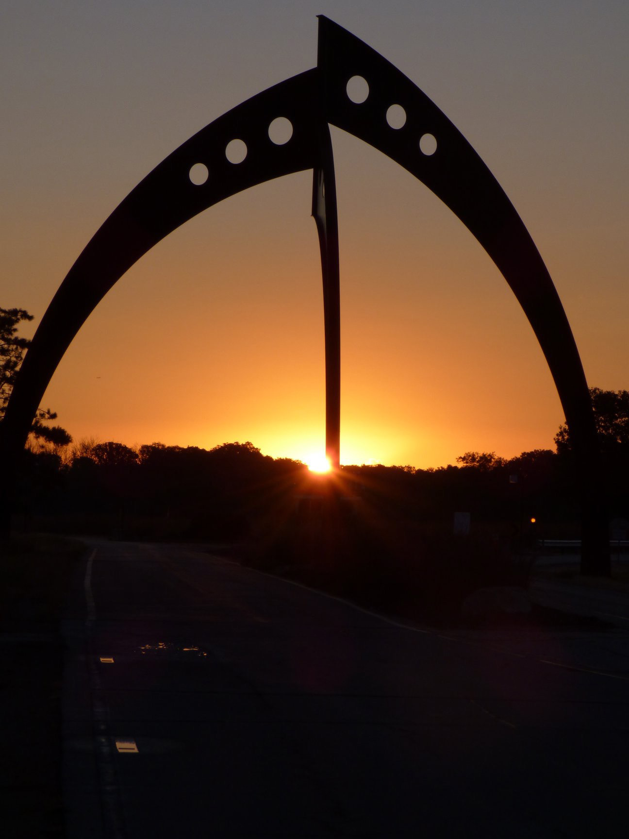 Give thanks for the beautiful site where so many of us work. nature, landscape, sun, sunrise, sky, sculpture Photo: Amy Scroggins