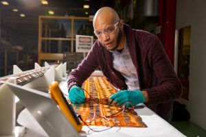 Marcellus Parker is the the floor supervisor of the technicians who make superconducting magnets for the High-Luminosity Accelerator Upgrade Program. Photo: Reidar Hahn