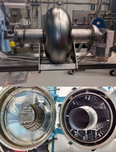 Low-frequency cavity (top) is prepared for insertion into the vacuum furnace used for niobium-tin coating (bottom). Photos courtesy of Sam Posen
