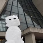 (1/2) An anonymous sculptor created this figure of snow on the plaza in front of Wilson Hall. snow, building, Wilson Hall Photo: Jim Shultz
