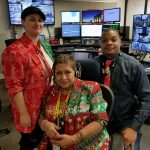 Comm Center employees Donna Iraci, Yolanda Martinez and Charles Shaw show off their holiday attire. people Photo: Lori Limberg