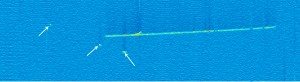 This is a visual display of an ArgoNeuT event showing a long trail left behind by a high energy particle traveling through the liquid argon accompanied by small blips caused by low energy particles.