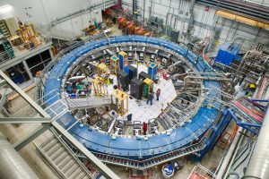 Muons for the Muon g-2 experiment are stored in this electromagnet storage ring. Photo: Reidar Hahn