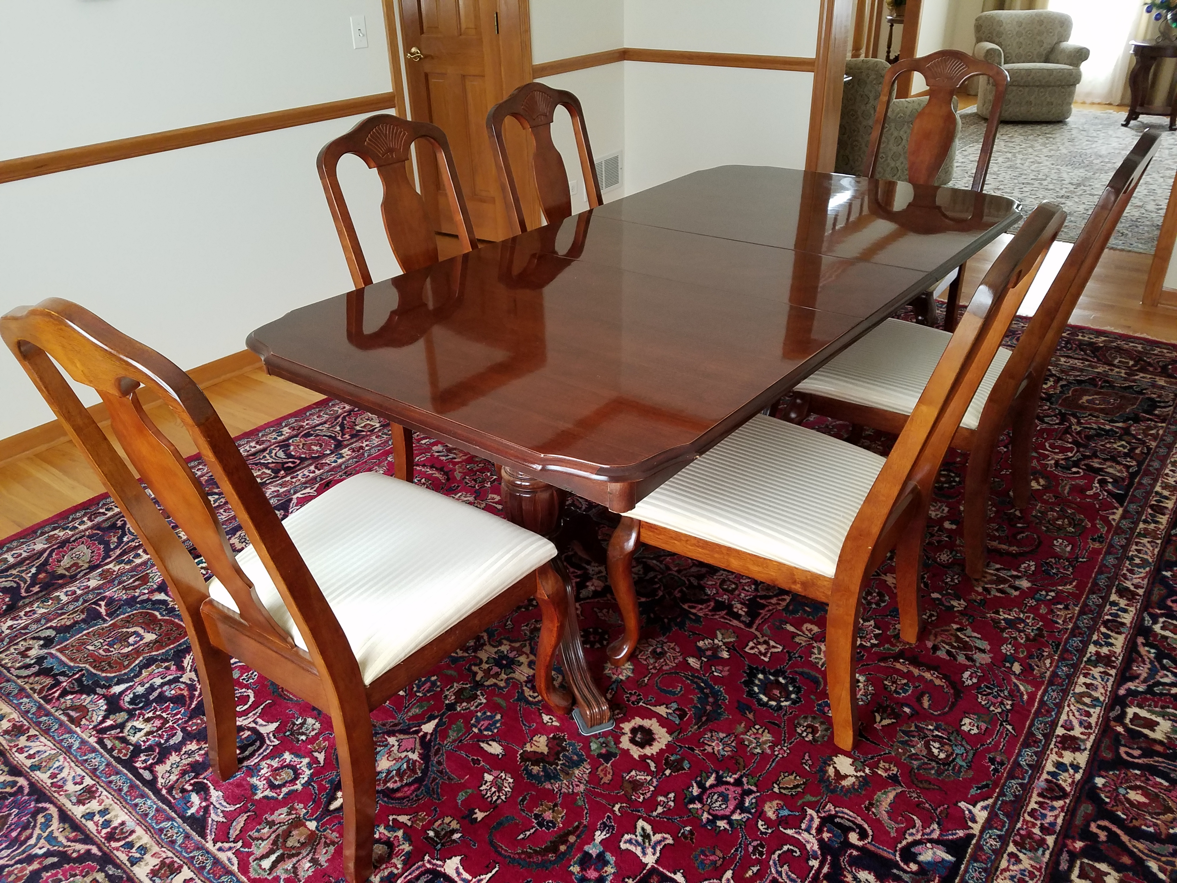 Very nice solid wood dining set cherry finish - table and ... on Safavieh Outdoor Living Horus Dining Set id=62847