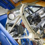 The Dark Energy Camera mounted on the 4-meter Blanco telescope at the Cerro Tololo Inter-American Observatory in Chile. The final day of data-taking for the Dark Energy Survey is Jan. 9.