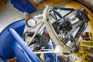 The Dark Energy Camera is mounted on the 4-meter Blanco telescope at the Cerro Tololo Inter-American Observatory in Chile. The final day of data-taking for the Dark Energy Survey is Jan. 9. Photo: Fermilab