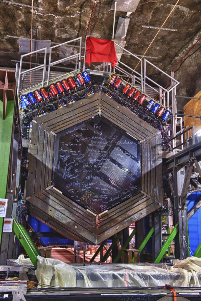 Neutrinos entering the MINERvA detector interact with the detector's atoms, generating new particles before fleeing the scene. The MINERvA experiment recently used a new investigative technique to better trace those fleeing neutrinos that kicked everything off. Photo: Reidar Hahn
